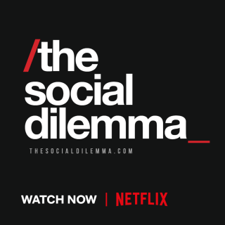 Black square with the words the social dilemma